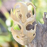 Wood mask, 'Gift of the Gecko' - Handmade Wood Lizard Mask