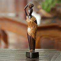 Wood sculpture, 'Firewood' - Fair Trade Cultural Wood Sculpture