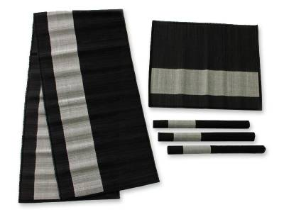 Natural Fiber Table Runner And Placemats, U0027Java Minimalistu0027 (set For 4)
