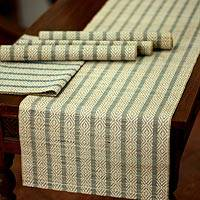 Natural fiber table runner and placemats, 'Ethnic Blue' (set for 4) - Natural Fiber Placemats and Table Runner (Set for 4)