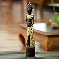 Wood sculpture, 'Woman from Banjarjuga' - Wood sculpture