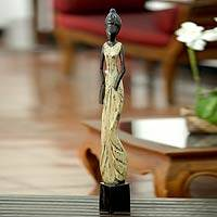 Wood sculpture, 'Banjarjuga Muse' - Wood sculpture