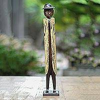 Wood sculpture, 'Indonesian Inspector' - Wood sculpture