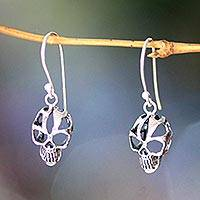 Sterling silver dangle earrings, 'Skeletal' - Sterling silver dangle earrings