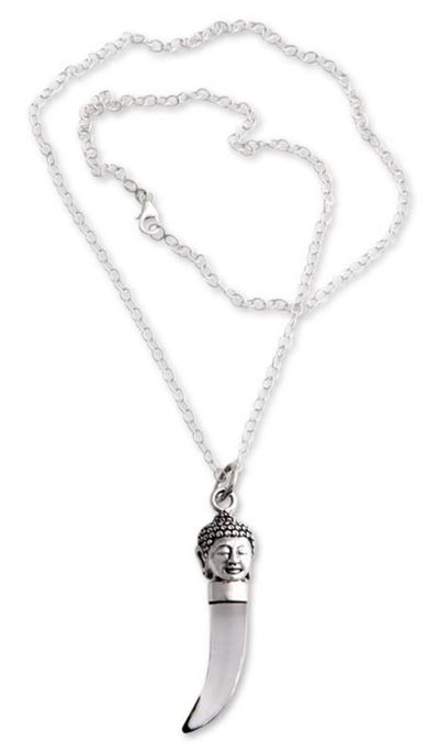 Men's obsidian pendant necklace, 'Buddha Protector' - Men's Obsidian and Sterling Silver Necklace