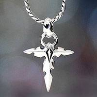 Men's sterling silver cross necklace, 'Courage of Faith' - Men's Sterling Silver Cross Necklace