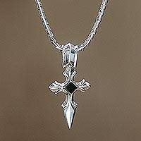 Men's sterling silver cross necklace, 'Protector' - Men's Sterling Silver and Onyx Cross Necklace from Bali