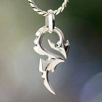 Men's sterling silver pendant necklace, 'Dragon Tail'