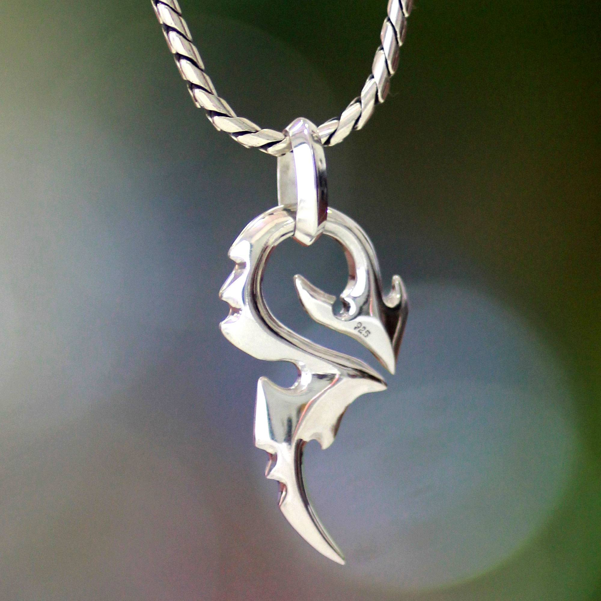 Men s Handmade Sterling Silver Pendant Necklace Dragon Tail