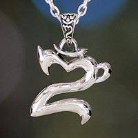 "Men's sterling silver necklace, 'Sanskrit Om' - Sterling Sanskrit ""Om"" for Men"