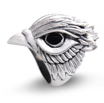 Men's onyx ring, 'Hawk Power' - Men's Onyx and Sterling Silver Bird Ring