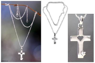 Men's sterling silver cross necklace, 'Soul Believer' - Men's Sterling Silver Cross Necklace