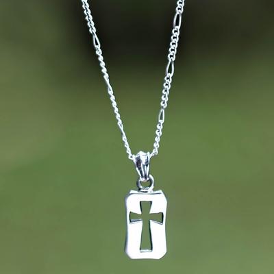Men's sterling silver cross necklace, 'Believer' - Unique Men's Sterling Silver Cross Necklace