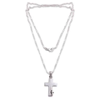 Men's sterling silver cross necklace, 'Faithful' - Men's Sterling Silver Cross Necklace
