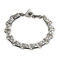 Men's sterling silver bracelet, 'Stone Age' - Men's sterling silver bracelet