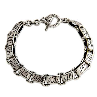Men's sterling silver bracelet, 'Rolling Waves' - Men's sterling silver bracelet