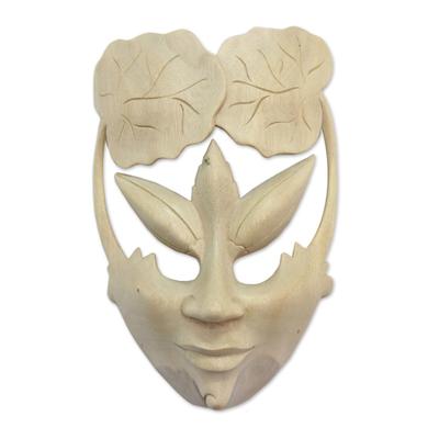 Wood mask, 'Water Lily Princess' - Wood mask