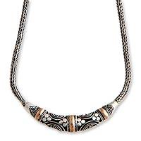 Gold accent pendant necklace, 'Taman Ayun Goddess' - Gold accent pendant necklace