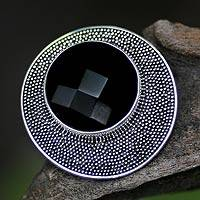 Onyx cocktail ring, 'Black Moon' - Handcrafted Onyx andSterling Silver Ring from Indonesia