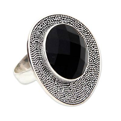 Onyx cocktail ring, 'Black Moon' - Modern Sterling Silver and Onyx Cocktail Ring