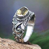 Citrine solitaire ring, 'Feminine Charm' - Citrine and Sterling Silver Ring