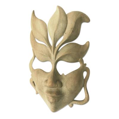 Wood mask, 'Face of Nature' - Handmade Wood Mask from Indonesia