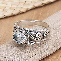Blue topaz solitaire ring, 'Feminine Charm' - Handcrafted Blue Topaz and Sterling Silver Ring