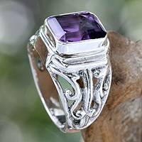 Men's amethyst ring, 'Wisdom Warrior' - Men's Amethyst Decorative Ring