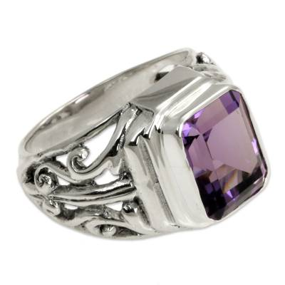 Men's amethyst ring, 'Wisdom Warrior' - Men's Sterling Silver and Amethyst Ring
