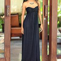 Maxi dress, 'Black Bali Empress' - Unique Indonesian Long Rayon Strapless Maxi Dress