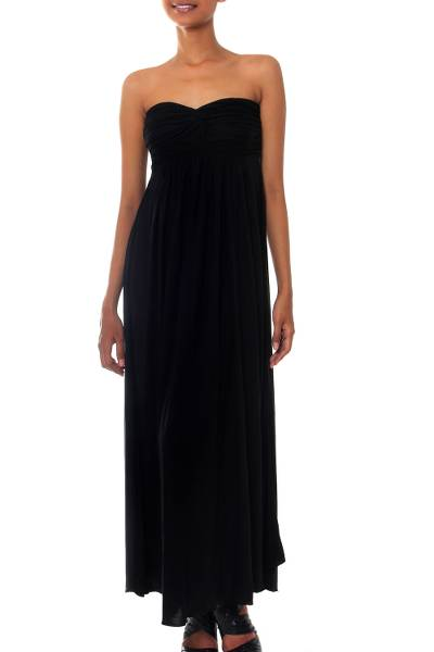 Maxi dress, 'Black Bali Empress' - Fair Trade Strapless Maxi Dress