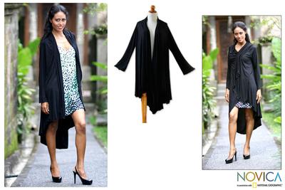 Jersey kimono jacket, 'Ebony Grace' - Jersey jacket