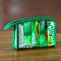 Recycled wrapper cosmetic bag, 'New Green' (medium) - Indonesian Recycled Wrapper Cosmetic Bag (Medium)