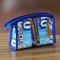 Recycled wrapper cosmetic bag, 'New Blue' (medium) - Recycled Wrapper Cosmetic Cosmetic Bag