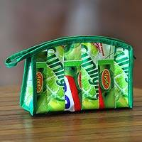 Recycled wrapper cosmetic bag, 'New Green' (large) - Ecofriendly Recycled Wrapper Cosmetic Bag (Large)
