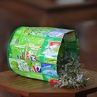 Recycled wrapper trash bin, 'Cool Green' - Recycled wrapper trash bin