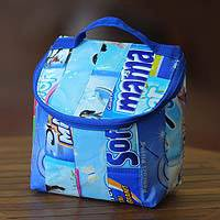 Recycled wrapper insulated bag, 'Blue Hope' - Recycled wrapper insulated bag