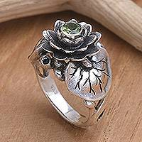 Peridot flower ring, 'Lotus Purity' - Handcrafted Peridot and Sterling Silver Ring