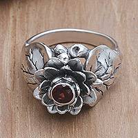 Garnet flower ring, 'Lotus Purity' - Garnet and Sterling Silver Flower Ring
