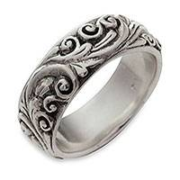 Sterling silver band ring, 'Floral Moon'
