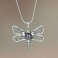 Amethyst pendant necklace, 'Lavender Dragonfly' - Amethyst and Sterling Silver Necklace
