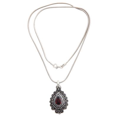 Garnet pendant necklace, 'Queen of Bali' - Handcrafted Sterling Silver and Garnet Pendant Necklace