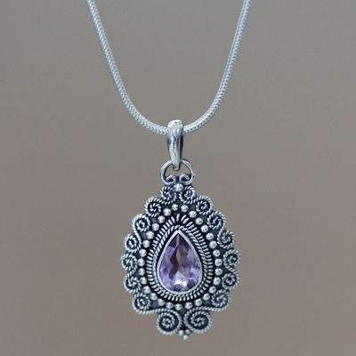 Amethyst pendant necklace, 'Queen of Bali' - Sterling Silver and Amethyst Pendant Necklace