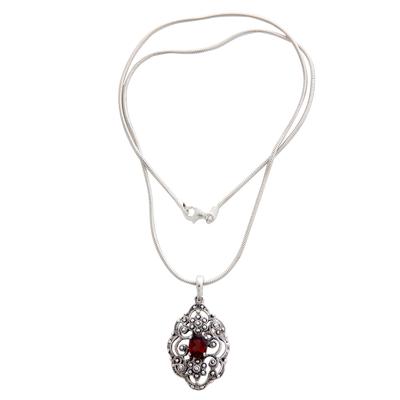 Garnet pendant necklace, 'Balinese Romance' - Sterling Silver and Garnet Pendant Necklace