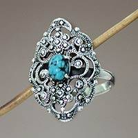 Sterling silver cocktail ring, 'Bali Magnificence' - Sterling Silver and Reconstituted Turquoise Ring