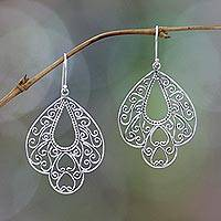Sterling silver filigree earrings, 'Bali Complexion' - Sterling Silver Dangle Earrings