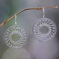 Sterling silver filigree earrings, 'Prayer Wheel' - Sterling silver filigree earrings