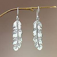 Sterling silver dangle earrings, 'Shining Feather'