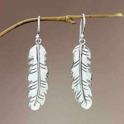 Sterling silver dangle earrings, 'Shining Feather' - Women's Sterling Silver Dangle Earrings from Indonesia