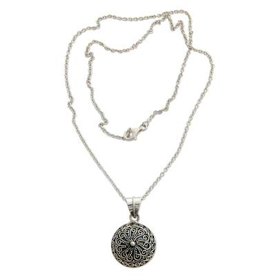 Sterling silver pendant necklace, 'Fern Flower Talisman' - Handcrafted Sterling Silver Pendant Necklace